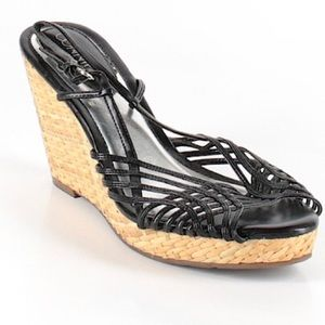 Connie black strappy wedges sandals, 9.5